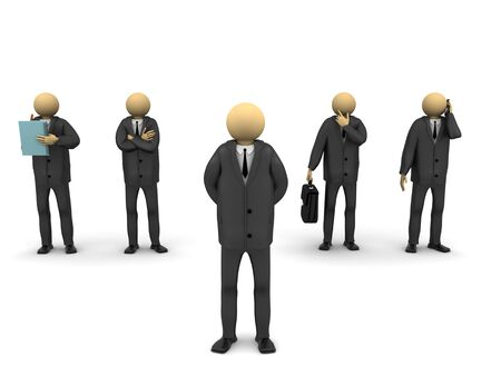 A 3d image of several businessmen. Stock Photo