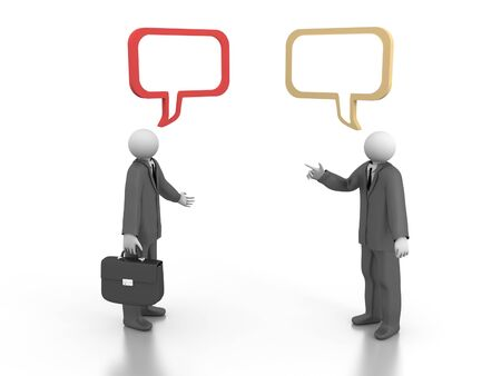 A 3d image of two businessmen which discussing something. Stock Photo
