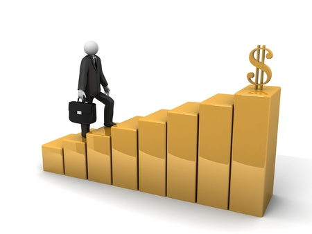 A 3d image of businessman walking on the path to wealth.