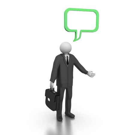 A 3d image of one businessman with speech bubble. Stock Photo
