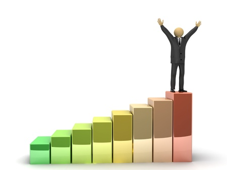 A 3d image of happy businessman, which stands on the top of higher graph. Stock Photo