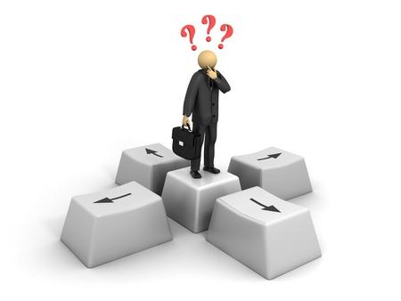 A 3d image of business man deciding where to go.