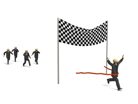 A 3d image of business competition with winner. Stock Photo