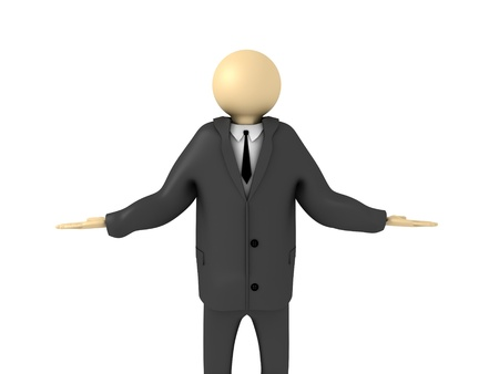 3d image of businessman making decisions.