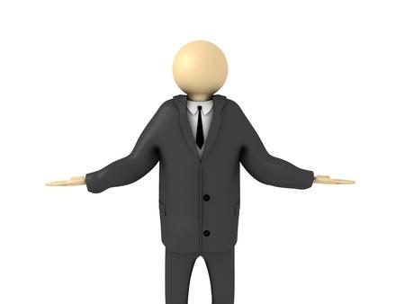 puzzlement: 3d image of businessman making decisions.