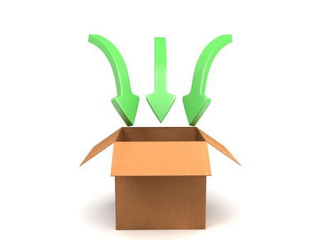 3D image of carton box with green arrow. Stock Photo