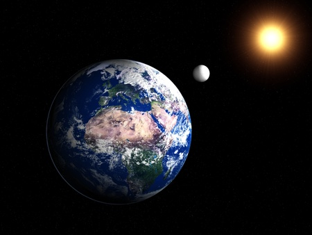 A 3d image of planet Earth with moon.
