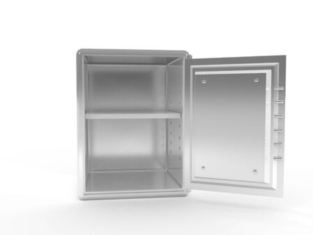 A 3d image of empty safe, isolated on white.