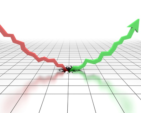 A 3d image of decreases and growth graph. Stock Photo