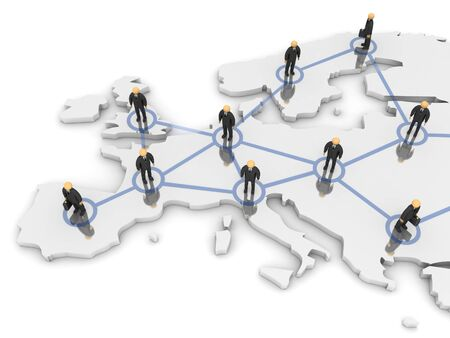 A 3d image of business team connected with network.