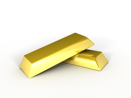 A 3d image of golden ingots on white background.