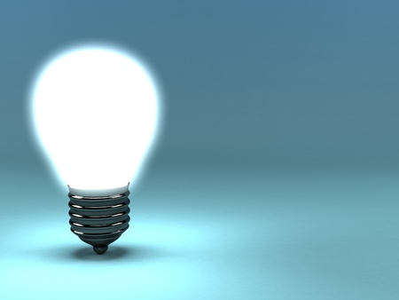 A 3d image of lamp shining bright. photo