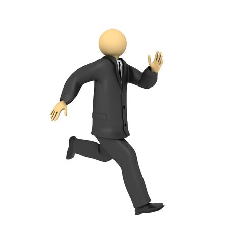 A 3d image of running businessman, isolated on white.
