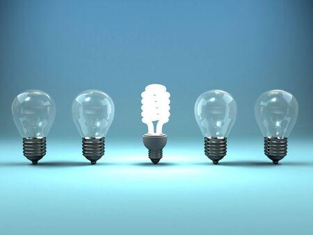 Una imagen en 3D de cuatro lámparas y un brillo de la lámpara luminosa.
