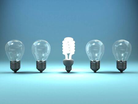 glowing light bulb: A 3d image of four lamps and one shining luminescent lamp. Stock Photo