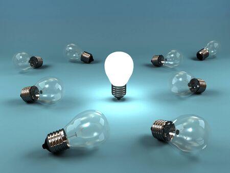 focos de luz: Una imagen en 3D de varias lámparas de la mentira y un brillo luminoso. Foto de archivo