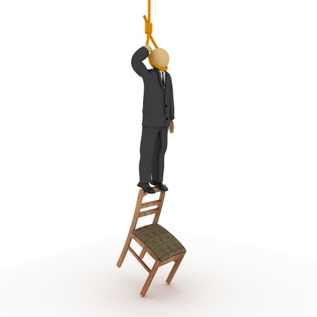 hang body: 3D image of businessman trying to hand himself.