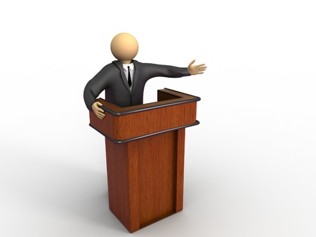 preaching: A 3d image of businessman with pulpit presenting. Isolated on white.