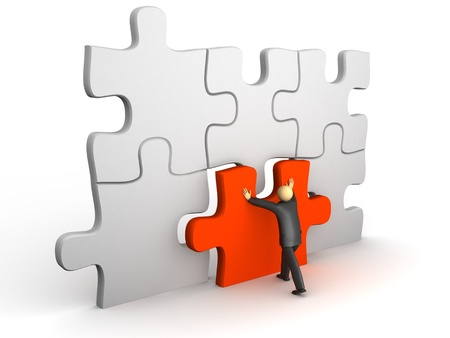 final piece of puzzle: A 3d image of businessman with puzzle and final piece. Stock Photo