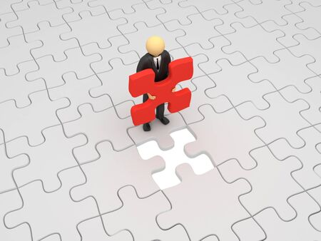 A 3d image of business man which holds last piece of puzzle.