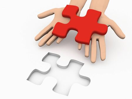 A 3d image of solution puzzle on white background.