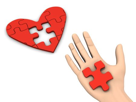 absence: A 3d image of hand finishing puzzle heart. Stock Photo