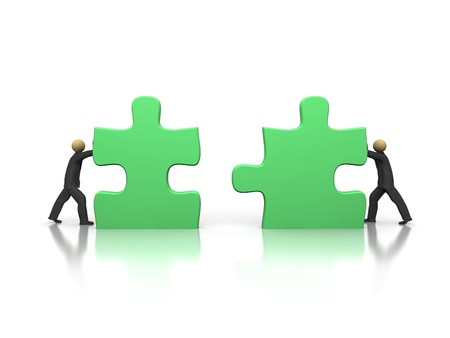 A 3d image of two businessmen solving puzzle.