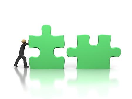 A 3d image of businessman solving puzzle. photo