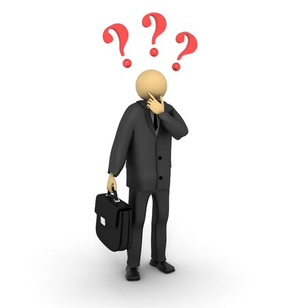 A 3d image of uncertain business man. Stock Photo