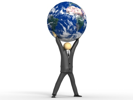 A 3d image of businessman and rule the world concept.