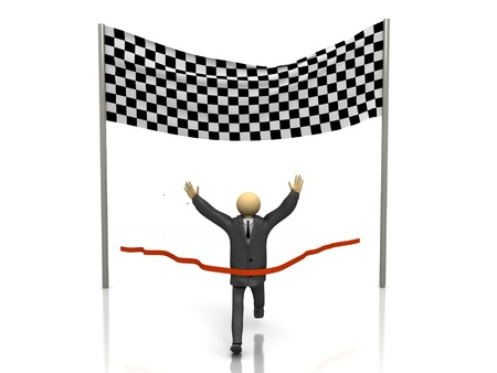 A 3d image of winner businessman. Isolated on white. Stock Photo