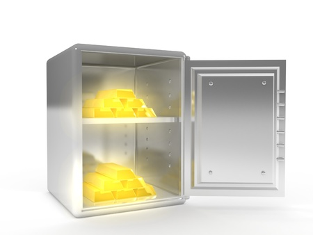 A 3d image of safe with shiny golden ingots inside.