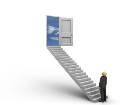 beginning: A 3d image of businessman looking at ladders to the sky.