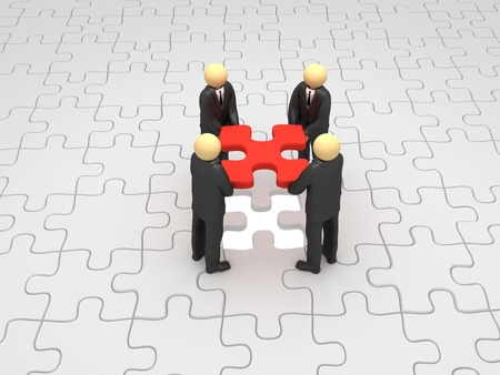 A 3d image of business group solving puzzle. photo