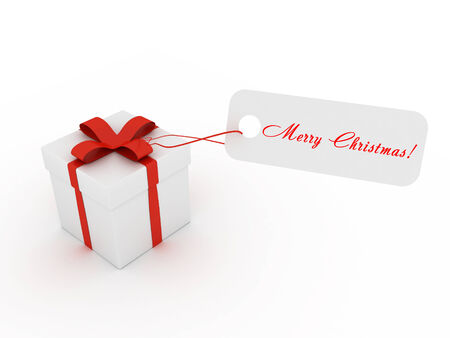 3D image of present with ribbons and merry christmas card