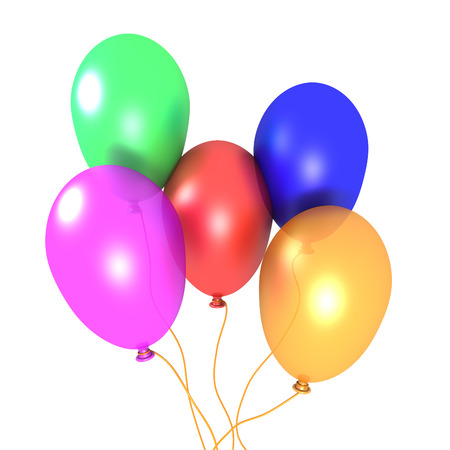 3D image of five balloons on white background.