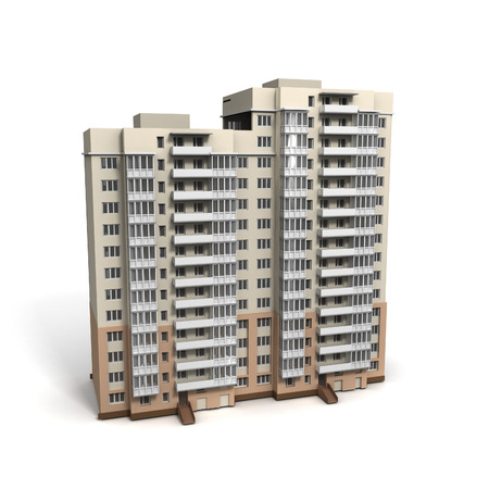 modern residential building: 3D image of bulding on white background. Stock Photo