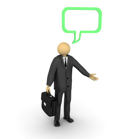 3D image of businessman talking. Stock Photo