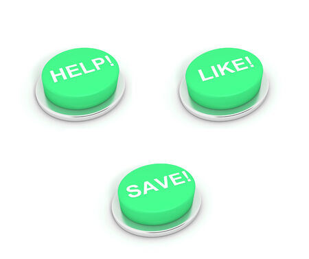 Pleading: Help, Like and Save Buttons on white background. Stock Photo