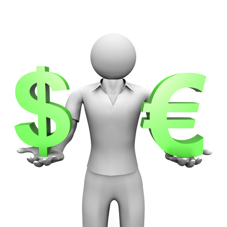 3D image of man with dollar and euro signs photo