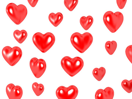 3D image of hearts, isolated on white. Stock Photo