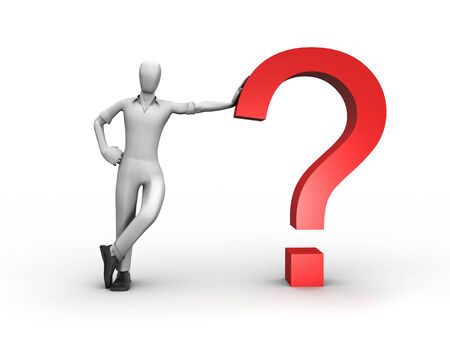 3D image of man with question. Stock Photo