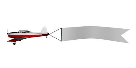 3D image of plane with blank banner.