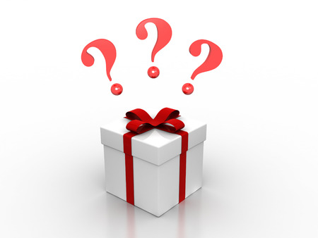 3D image of present with question marks. Stockfoto