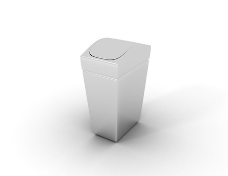 3D image of trash can. Stock Photo
