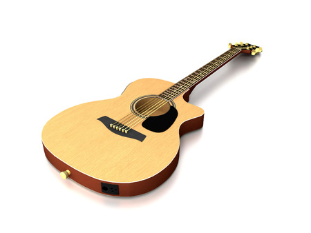 fretboard: 3D image of guitar on grey background.