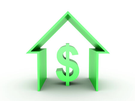 3D image of green house with dollar sign on white background Stock Photo