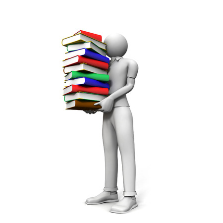 3D image of man with books on white background.