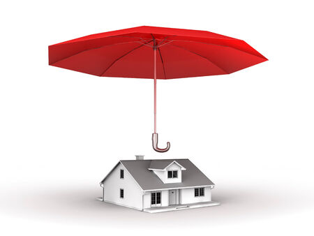 3D image with umbrella and house under protection. Stock Photo