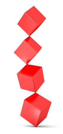 3D image of cubes representing balance on white.